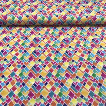 katoen tricot bedrukt - gekleurde ruit-0
